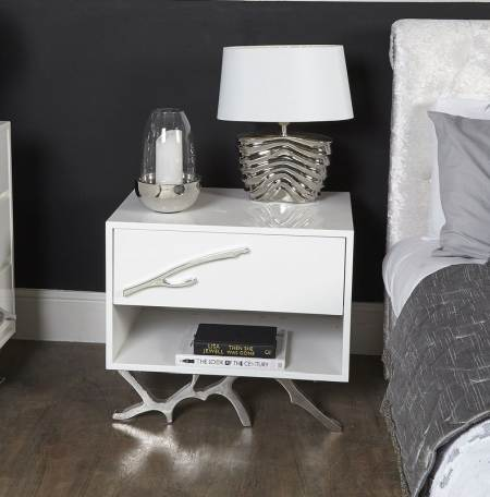 white bedside table with storage